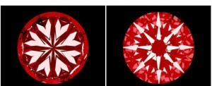 """Die Abbildung zeigt einen """"Herzen-und-Pfeile-Diamanten"""" unter dem H&A-Scope. Deutlich erkennbar sind die jeweils 8 symmetrisch angeordneten und gleichmäßig geformten Herzen und Pfeile."""