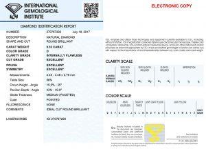 IGI-Diamantenexpertise /  IGI-Diamantenzertifikat dieses Diamanten