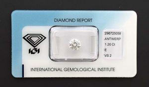Diamant-Brillant mit 1,20 Karat in Farbe E (River). Für ihren Verlobungsring? Sicher versiegelt.