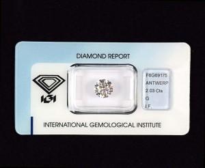 """Top Zweikaräter Anlage-Diamant 2,03 Karat, Farbe G (Top Wesselton), Reinheit IF (lupenrein), Schliff 3x Excellent + Prädikat """"IGI Ideal Cut"""", keine Fluoreszenz, neues IGI-Zertifikat, IGI-Versiegelung."""