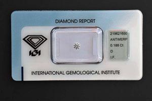 Diamant mit Top Werten und (fast) 0,19 Karat in der höchsten Farb- und Reinheitsstufe!