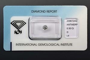 Anlagediamant 0,30 Karat, Farbe D, Reinheit IF, Schliff 3x Exzellent