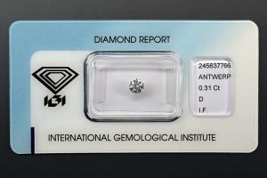 """Anlagediamant mit 0,31 Karat, Farbe D (River+) Reinheit IF (lupenrein) Schliff 3x Exzellent """"IDEAL CUT"""""""