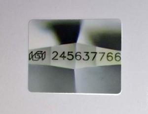 Diamant-Brillant 0,31 Karat, Original-Foto der Lasergravur im Zertifikat