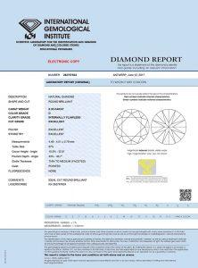 Diamant-Zertifikat des IGI für einen Top-Diamanten. Nur Höchstwerte!