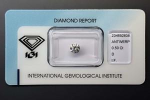 Anlagediamant 0,50 Karat, Farbe D, Reinheit IF (lupenrein), Schliff 3x Exzellent, mit Lasergravur