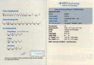 Diamant-Brillant Halbkaräter Anlagediamant 0,50 Karat, Farbe D, Reinheit VVS1 (fast lupenrein) mit HRD-Zertifikat und HRD-Lasergarvur zum besonders günstigen Preis