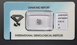 Top-Anlagediamant, Halbkaräter 0,52 Karat, Farbe D (River+), Reinheit IF (lupenrein), höchste Schliffausführung mit 3x Exzellent, keine Fluoreszenz.