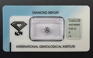 """Anlagediamant mit 0,52 Karat, Farbe D, lupenrein und Höchstprädikat """"IDEAL CUT""""!"""