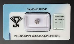 """Diamant-Brillant mit 0,53 Karat, Farbe D, Reinheit IF (lupenrein), Schliffausführung 3x Exzellent + Höchstprädikat """"IDEAL CUT BRILLANT"""", keine Fluoreszenz, neues IGI Zertifikat."""
