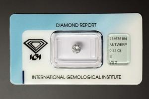 Halbkaräter Brillant, 0,53 ct., Farbe E (River), Reinheit VS 2, der ideale Schmuckstein für einen schönen Ring.