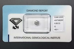 Diamant mit 0,60 Karat, in Farbe G (Top Wesselton) und Reinheit VS1 (sehr kleine Einschlüsse), ein schöner großer Brillant!