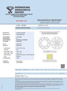 IGI Expertise dieses Top-Anlagediamanten. Zusammen mit seiner Lasergravur der Zertifikatsnummer absolute Sicherheit!