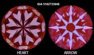 """Der perfekte """"Herzen-und-Pfeile-Schliff"""" eines perfekten Diamanten, sichtbar unter einem speziellen optischen Instrument!"""