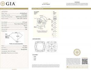 Auch dieser fancyfarbene grüne Diamant hat ein GIA-Zertifikat, welches die natürliche und unbehandelte Farbe feststellt und bestätigt.