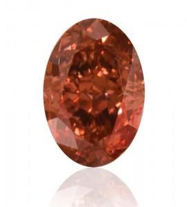 Ein beeindruckender Fancy Deep Pink Diamant mit 0,60 Karat im Oval-Schliff. Je nach Art der Beleuchtung, mal rot, mal pinkfarben.