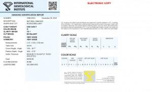 Brillant mit 0,60 Karat, Farbe G/Top Wesselton, Reinheit VS1, Schliff Exzellent, keine Fluoreszenz, IGI-Zertifikat