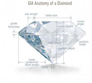Ein Brillant mit seinen wesentlichen Teilen, die für den Schliff und die Proportionen des Diamanten wichtig sind.