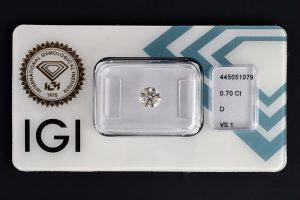 Diamant-Brillant 0,70 Karat D VS1 3x Exzellent IGI 445051079