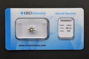 Diamant-Brillant 1,02 Karat Farbe G Reinheit VVS1 3x Exzellent keine Fluoreszenz HRD 200000086357