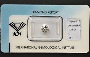 Ein 1,26 Karäter Diamant-Brillant mit Höchstfarbe und hoher Reinheit!