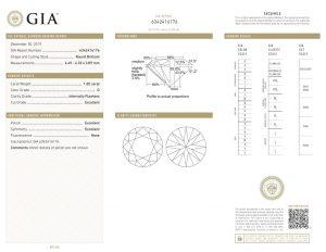 Das international anerkannte GIA-Zertifikat dieses Anlage-Diamanten. Wichtig, um ihn später jederzeit und weltweit wieder verkaufen zu können!