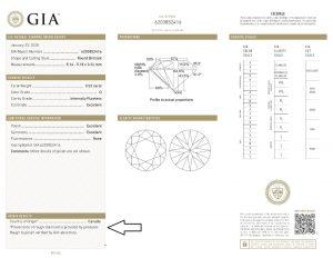 Dies ist die Kopie des GIA Origin-Reports, welchen das GIA im Internet zum Download zur Verfügung stellt. Der Pfeil kennzeichnet den Bereich der Urspungsbestätigung.
