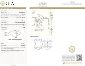 Wie bei allen Diamanten, ist es auch hier besonders wichtig, ein weltweit geschätztes und anerkanntes Zertifikat zu besitzen. Hier das GIA-Zertifikat. Der Diamant hat auch eine Lasergravur der Zertifikatsnummer zu schnellen und sicheren Identifikation.