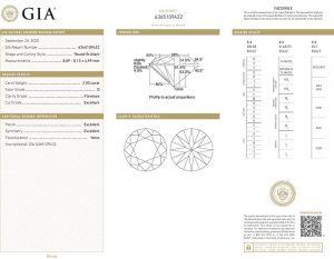 GIA Zertifikat 6365109432 Diamant-Brillant 2,03 Karat Farbe D Reinheit FL 2x Exzellent keine Fluoreszenz
