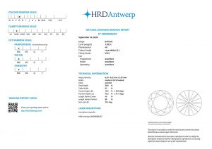 HRD Zertifikat 200000086357 Diamant-Brillant 1,02 Karat Farbe G Reinheit VVS1 3x Exzellent keine Fluoreszenz