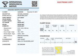 """Das IGI-Zertifikat. Sicherheit mit """"Brief und Siegel"""". Zusätzlich ist der Diamant noch mit der Zertifikatsnummer gelasert. Sicherheit pur!"""