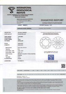 Kaufen Sie möglichst nie einen hochwertigen Diamanten ohne ein weltweit anerkanntes Diamantenzertifikat. Hier der Scan des IGI-Zertifikats.