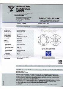 """Das eingescannte Original IGI-Zertifikat dieses Anlagediamanten. Sicherheit mit """"Brief und Siegel""""!"""