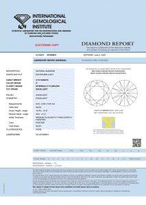 IGI Zertifikat 407929931 Diamant-Brillant 2,15 Karat Farbe H Reinheit IF
