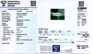IGI-Zertifikat 414090560 Diamant-Brillant 0,33 D IF