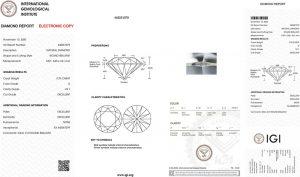 IGI Zertifikat 445051079 Diamant-Brillant 0,70 Karat D VS1 3x Exzellent