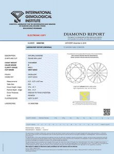 Sicherheit durch international anerkanntes IGI-Zertifikat. Der Diamant trägt die Zertifikatsnummer als Lasergravur.