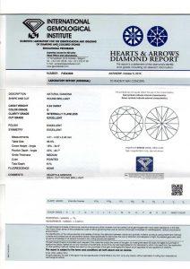 Ein Scan des Original IGI Diamantenzertifikats mit Bestätigung seines IDEAL CUT-Prädikats und seines HERZEN & PFEILE -Schliffs!
