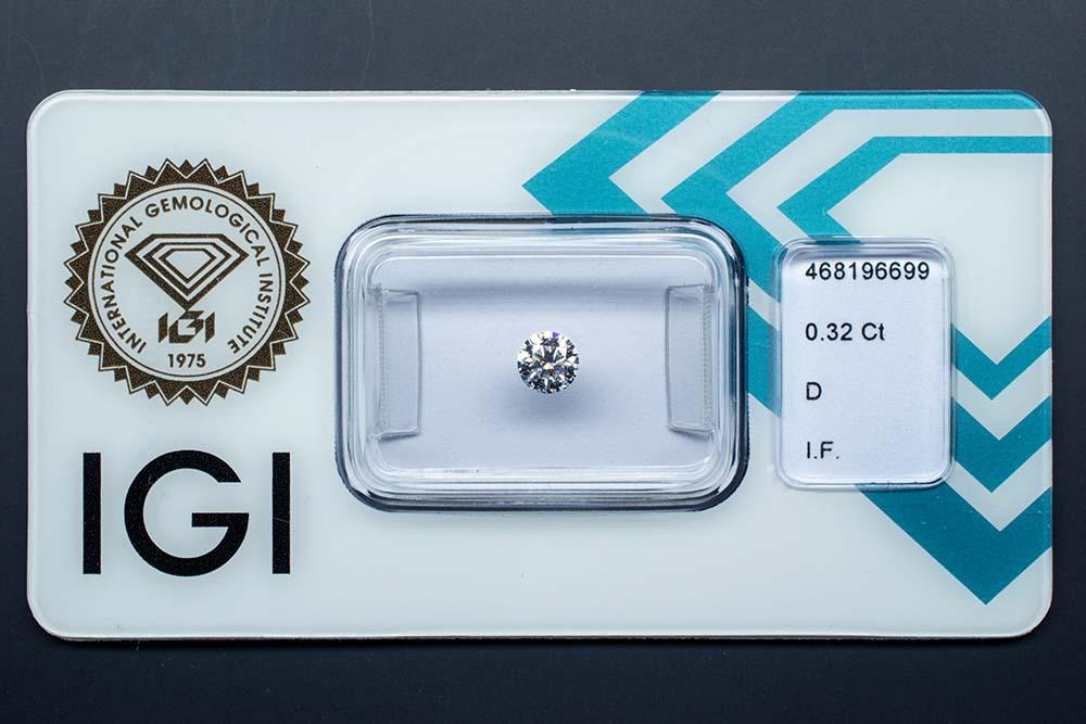 Diamant-Brillant 0,32 Karat D IF 3x Exzellent keine Fluoreszenz Ideal Cut IGI 468196699