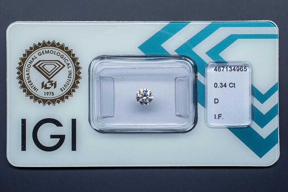 Diamant-Brillant 0,34 Karat D IF 3x Exzellent keine Fluoreszenz Ideal Cut IGI 467134965