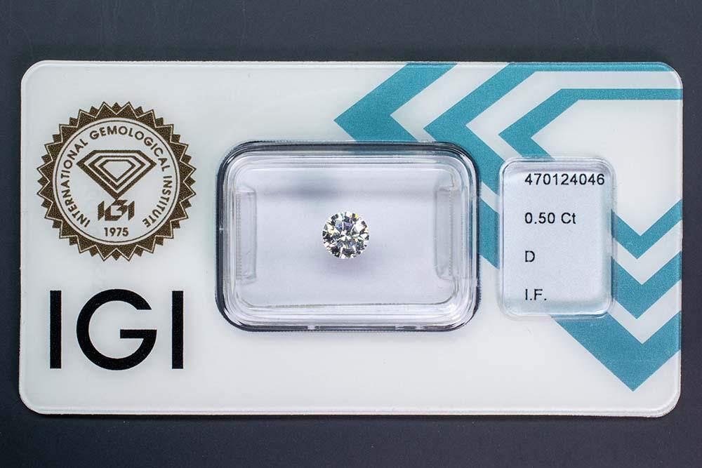 Diamant-Brillant 0,50 Karat D IF 3x exzellent Ideal Cut Round Brilliant keine Fluoreszenz IGI 470124046