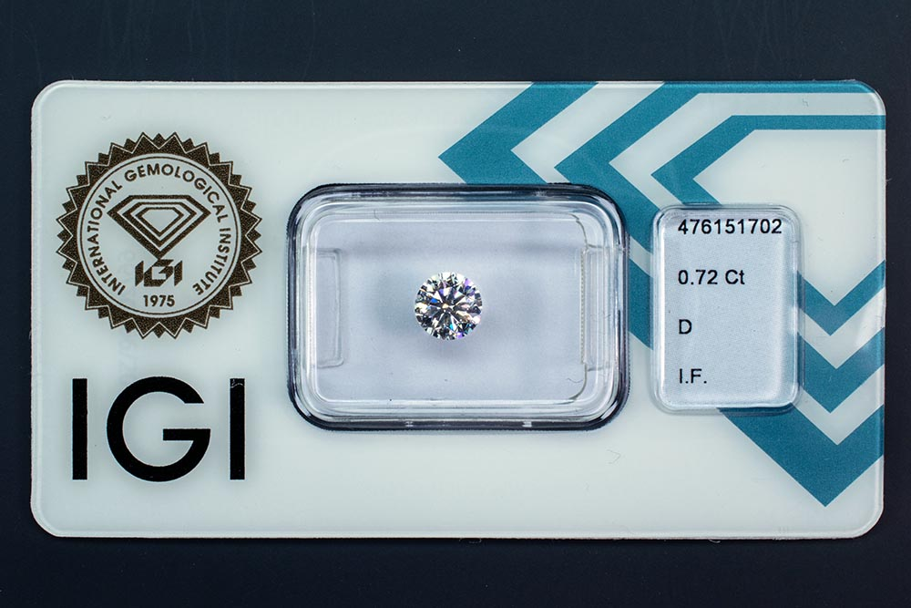 Diamant-Brillant 0,72 Karat D IF 3x Exzellent IGI 476151702
