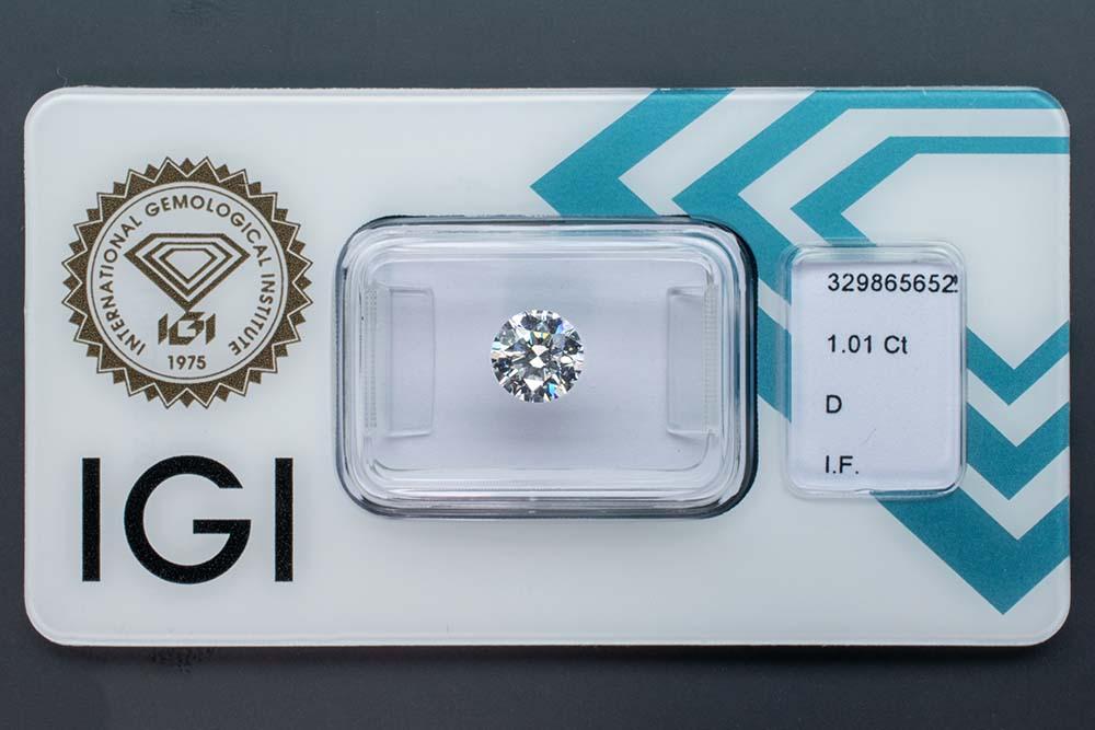 Diamant-Brillant 1,01 Karat D IF 3x Exzellent none IGI 329865652