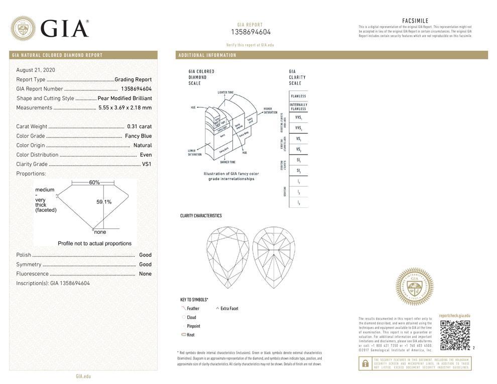 GIA-Zertifikat 1358694604 Fancy Blue Diamant 0,31 Karat