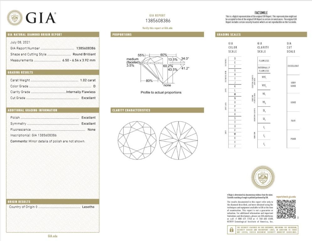 GIA-Zertifikat 1385608386 Diamant 1,02 Karat D IF 3x Exzellent