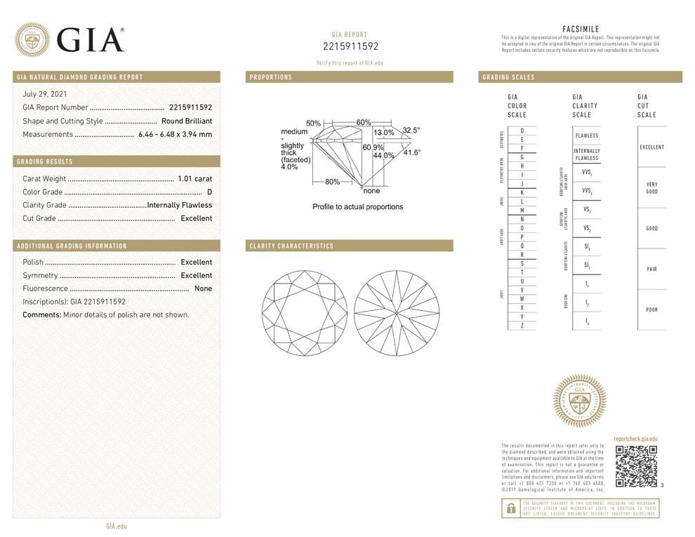 GIA Zertifikat 2215911592 Diamant im Brillantschliff 1,01 Karat Farbe D Reinheit IF Schliff 3x Exzellent