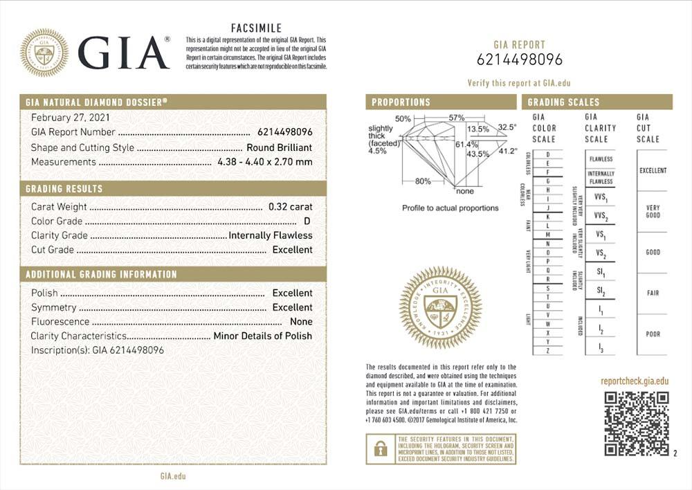 GIA-Zertifikat 6214498096 Diamant-Brillant 0,32 Karat D IF