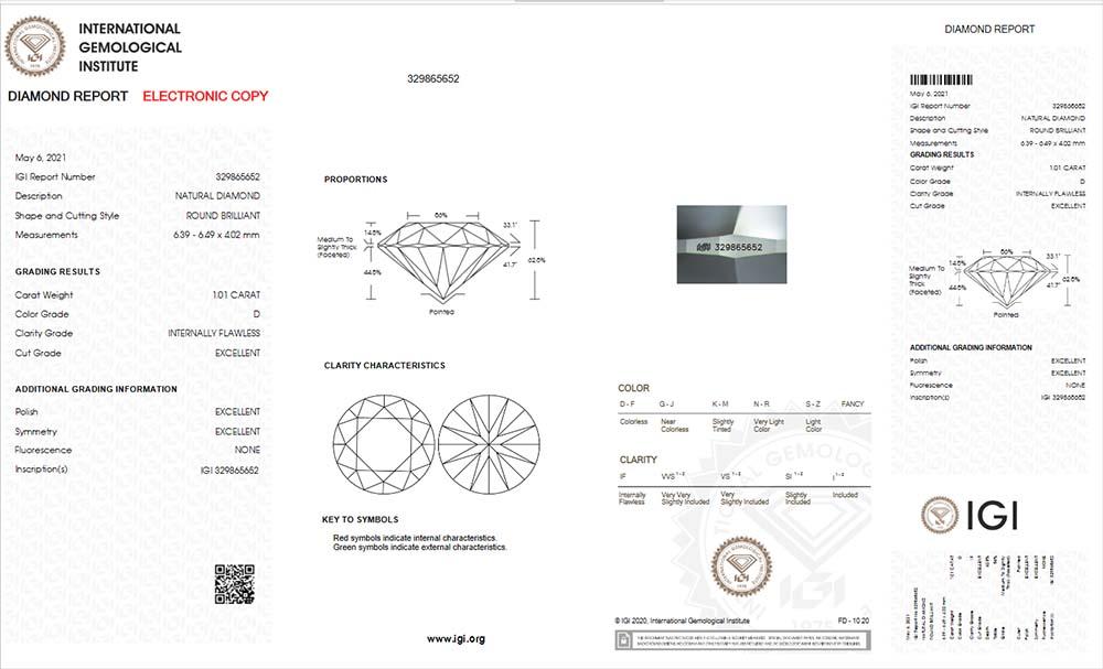 IGI-Zertifikat 329865652 Diamant-Brillant 1,01 Karat D IF 3x Exzellent none