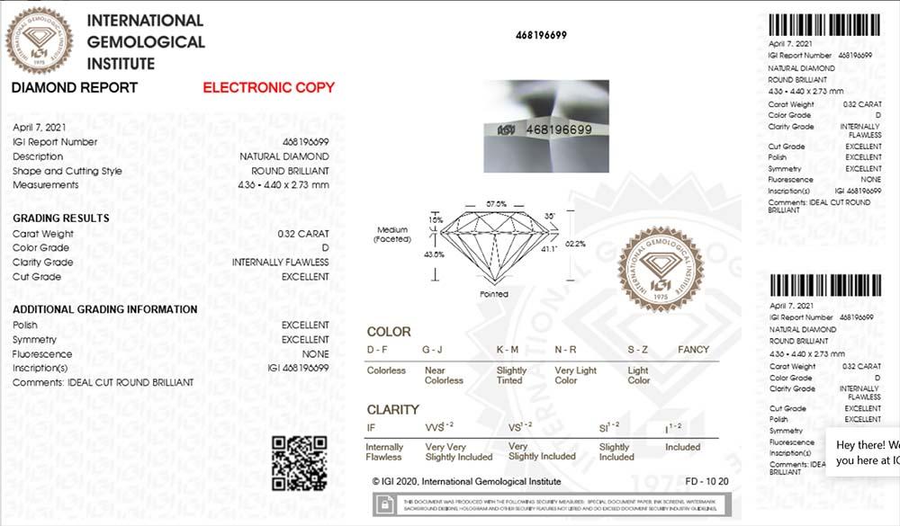 IGI-Zertifikat 468196699 Diamant-Brillant 0,32 Karat D IF 3x Exzellent keine Fluoreszenz Ideal Cut