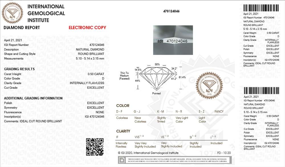 IGI Zertifikat 470124046 Diamant 0,50 Karat D IF
